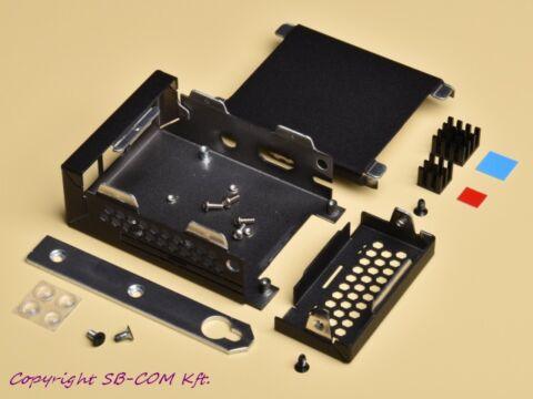 Raspberry Pi 3 fekete porfestett fém ház hűtőbordákkal