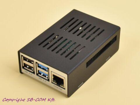 KKSB fekete/ezüst fém ház Raspberry Pi 4 model B-hez