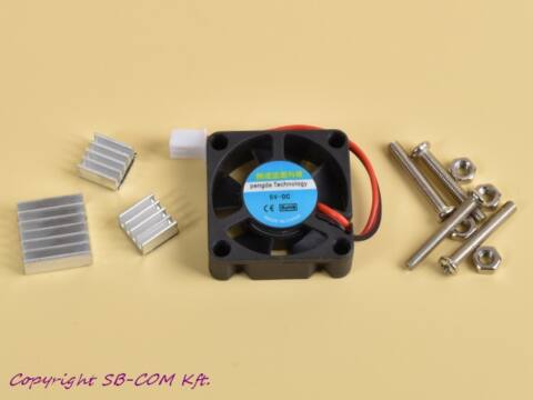 Ventilátor + 3 hűtőborda Raspberry Pi-hez
