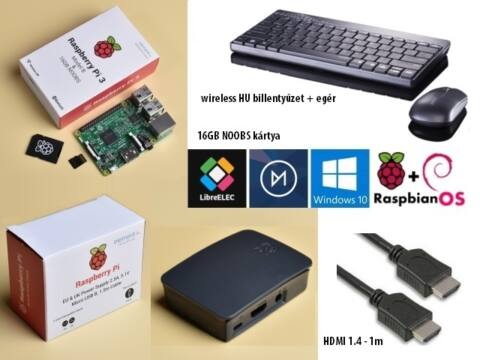 Raspberry Pi 3 Official KIT B/G + HU bill.+ egér + HDMI 1m