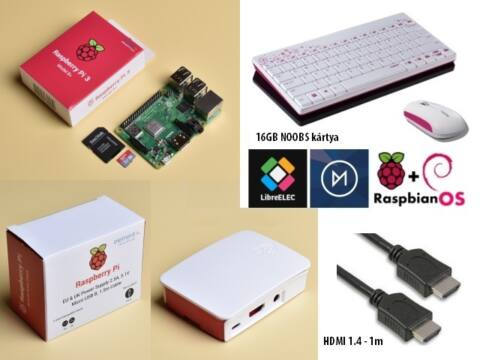 SB-Com Pi3 Plus Official KIT + HU bill. + egér + HDMI 1m