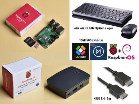 SB-Com Pi3 Plus Official KIT B/G + HU bill. + egér + HDMI 1m